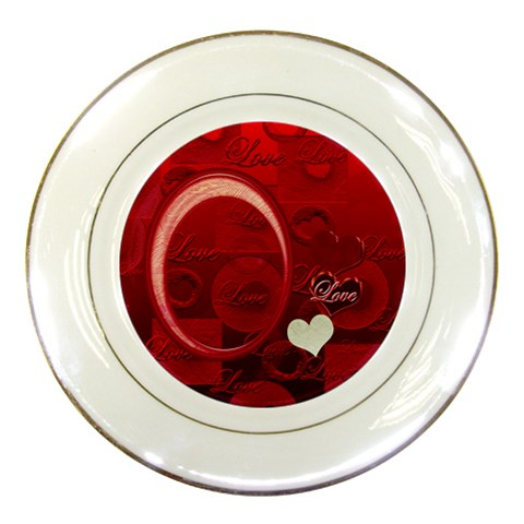 I Heart You Red Decorative Plate By Ellan   Porcelain Plate   28nszjrdnjf3   Www Artscow Com Front