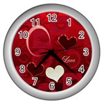 I Heart You Red White Wall Clock - Wall Clock (Silver)