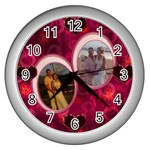 I Heart You Pink White Wall Clock - Wall Clock (Silver)