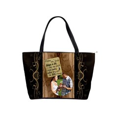 Enjoy The Little Things Brown Swirl Shoulder Handbag By Lil    Classic Shoulder Handbag   Bsq5tlv78eoh   Www Artscow Com Front