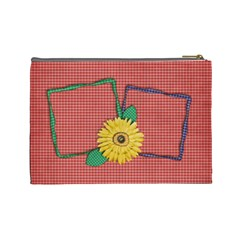 Gingham & Daisies Cosmetic Bag L By Mikki   Cosmetic Bag (large)   Ij6so94cjtnk   Www Artscow Com Back
