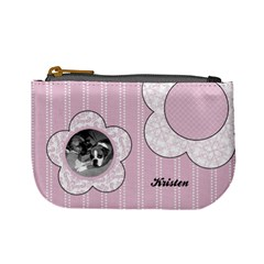 Simple Pink Flowers Mini Coin Purse By Klh   Mini Coin Purse   Rxmkwf75nzeo   Www Artscow Com Front