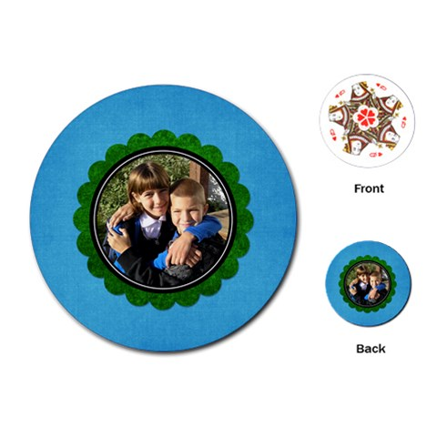 Blue Flower Card By Albums To Remember   Playing Cards (round)   3e81e1wp35wf   Www Artscow Com Front