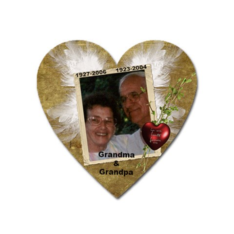 In Memory Of Grandpa And Grandma G By Anna Marie   Magnet (heart)   Pw0yuv25a18p   Www Artscow Com Front