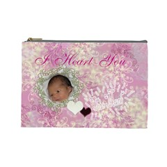 I Heart You This Much Baby Pink Large Cosmetic Bag By Ellan   Cosmetic Bag (large)   Nthvwmiodqn2   Www Artscow Com Front