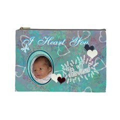 I Heart You This Much Baby Blue Aqua2 Large Cosmetic Bag By Ellan   Cosmetic Bag (large)   Z57zn0h4oc53   Www Artscow Com Front
