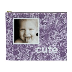 Cute Smile Purple Floral Cosmetic Bag By Catvinnat   Cosmetic Bag (xl)   Ag7j1gii3w6y   Www Artscow Com Front