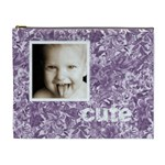 cute smile purple floral cosmetic bag - Cosmetic Bag (XL)