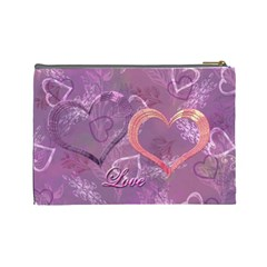 I Heart You Love Lavender Purple Large Cosmetic Bag By Ellan   Cosmetic Bag (large)   Hhonamwurxf8   Www Artscow Com Back