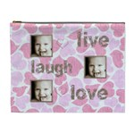 pink hearts live, laugh, love extra large cosmetic bag - Cosmetic Bag (XL)