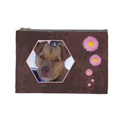 Pink Daisy Large Cosmetic Case 1 By Joan T   Cosmetic Bag (large)   1cdyou4uj58f   Www Artscow Com Front