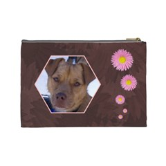 Pink Daisy Large Cosmetic Case 1 By Joan T   Cosmetic Bag (large)   1cdyou4uj58f   Www Artscow Com Back