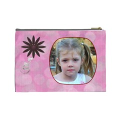 Pink Daisy Large Cosmetic Case 2 By Joan T   Cosmetic Bag (large)   0vpdm6ceo6gw   Www Artscow Com Back