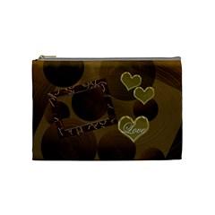 I Heart You Gold Love Medium Cosmetic Bag By Ellan   Cosmetic Bag (medium)   9qmmtqjxfy8z   Www Artscow Com Front