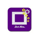 Purple Square Photo Coaster - Rubber Square Coaster (4 pack)