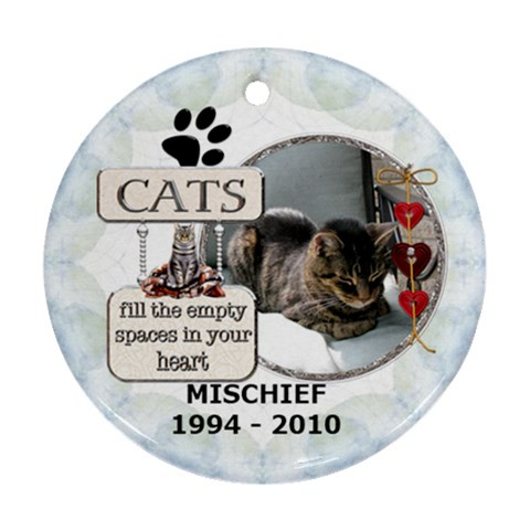 Cat Rememberance One Sided Ornament By Lil    Ornament (round)   Bba15ddukk55   Www Artscow Com Front