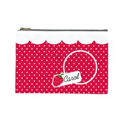Strawberries Cosmetic Bag L 02 By Carol   Cosmetic Bag (large)   Ws6kojofk6nq   Www Artscow Com Front
