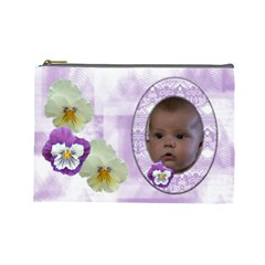 Pansy Large Cosmetic Case 1 By Joan T   Cosmetic Bag (large)   Ihvw0f6ddlse   Www Artscow Com Front