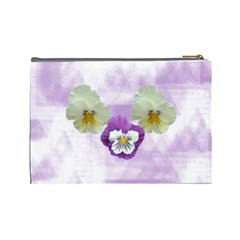 Pansy Large Cosmetic Case 1 By Joan T   Cosmetic Bag (large)   Ihvw0f6ddlse   Www Artscow Com Back