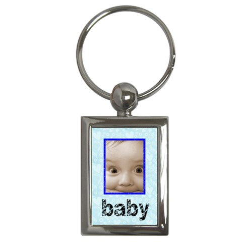 Baby Blue 100% Love Keychain By Catvinnat   Key Chain (rectangle)   Xhud7ke604kd   Www Artscow Com Front