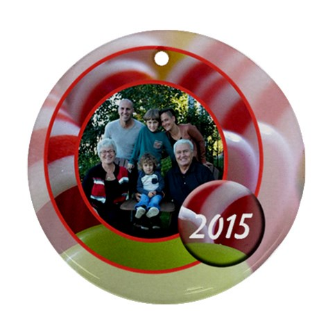 Candy Ribbon Ornament By Patricia W   Ornament (round)   Imx0wx7wrwe9   Www Artscow Com Front