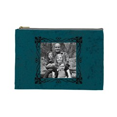 Large Turquoise Cosmetic Bag By Amanda Bunn   Cosmetic Bag (large)   83xp7l03sxnv   Www Artscow Com Front