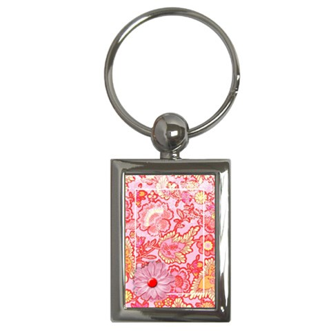 Pink & Red Floral  Key Chain By Mikki   Key Chain (rectangle)   R5ahffx0u6g6   Www Artscow Com Front