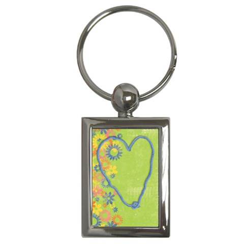 Heart & Flowers, Key Chain By Mikki   Key Chain (rectangle)   3hqdxlomm9tm   Www Artscow Com Front