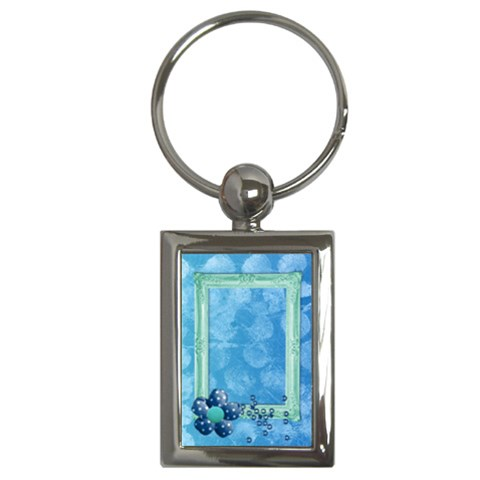 Blue Flower  Key Chain By Mikki   Key Chain (rectangle)   6d6kcawg9nfh   Www Artscow Com Front