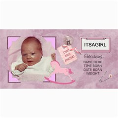 Baby Girl Announcement Cards By Lil    4  X 8  Photo Cards   0jpl4vepkzr9   Www Artscow Com 8 x4 Photo Card - 2