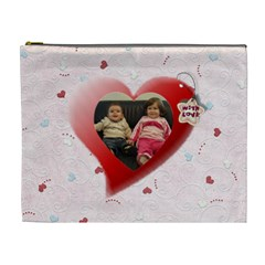 Heart With Love   Pink By Daniela   Cosmetic Bag (xl)   N3cjbc54l4nq   Www Artscow Com Front
