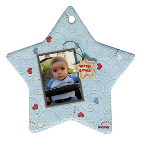 With Love   2010 Blue By Daniela   Ornament (star)   R9dnx4b7hgqz   Www Artscow Com Front