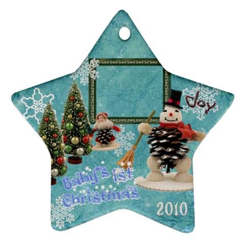 Snowman Blue Baby s 1st Christmas 2010 Ornament 93 By Ellan   Ornament (star)   26jfrje7ahtk   Www Artscow Com Front