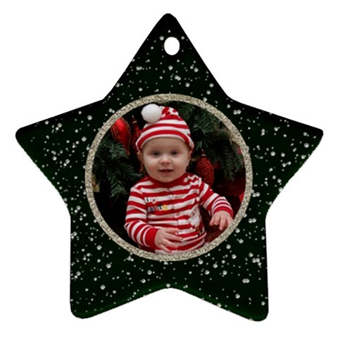 Christmas Ornament Star   Green & Silver Glitter By Jen   Ornament (star)   Lzinaac5hml2   Www Artscow Com Front