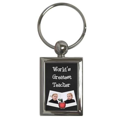World s Greatest Teacher Keychain W Photos (rectangle) By Jen   Key Chain (rectangle)   Iggy5wzg2lmv   Www Artscow Com Front