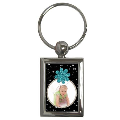 All That Glitters Keychain   Aqua Flower (rectangle) By Jen   Key Chain (rectangle)   4sdiwm1k4avf   Www Artscow Com Front