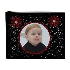 All That Glitters Black Xl Cosmetic Bag W/flowers By Jen   Cosmetic Bag (xl)   Nhmzt3jp5uog   Www Artscow Com Front