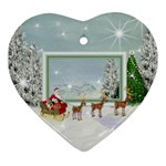 Here Comes Santa ornament 1 - Heart Ornament (Two Sides)