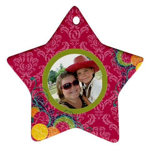 Bright Pink Star Ornament By Klh   Ornament (star)   Dm6ttyonualo   Www Artscow Com Front