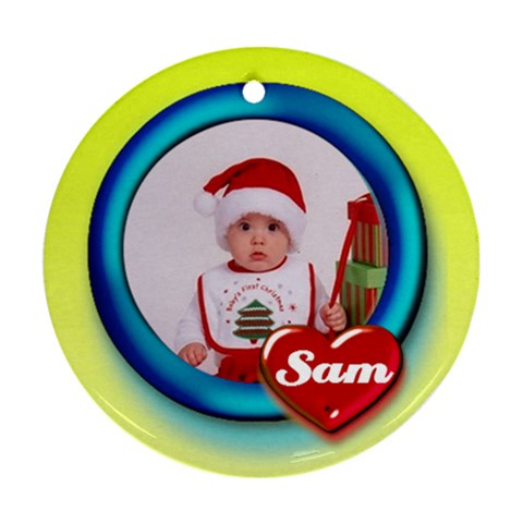 Sam Heart   Ornament By Carmensita   Ornament (round)   Val32etrkttn   Www Artscow Com Front
