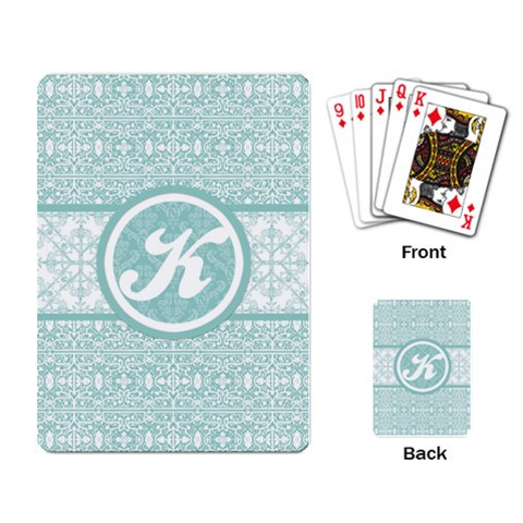 Tiffany Blue Lace Monogram Playing Cards By Klh   Playing Cards Single Design   5grtd32i3ki2   Www Artscow Com Back