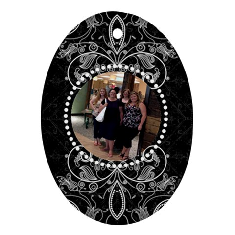 Fancy Black & White Oval Ornament By Klh   Ornament (oval)   6p7wh96j5az9   Www Artscow Com Front
