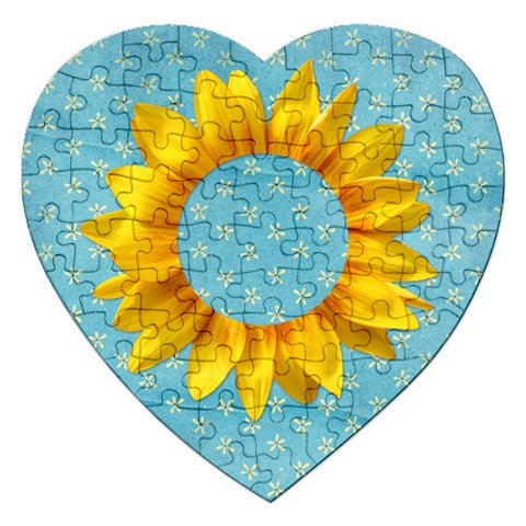 Sunflower Photo Frame Puzzle By Mikki   Jigsaw Puzzle (heart)   Z9rg6u4ts709   Www Artscow Com Front