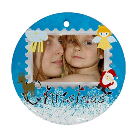 Christmas By Wood Johnson   Ornament (round)   Wdx7qxcn9h24   Www Artscow Com Front
