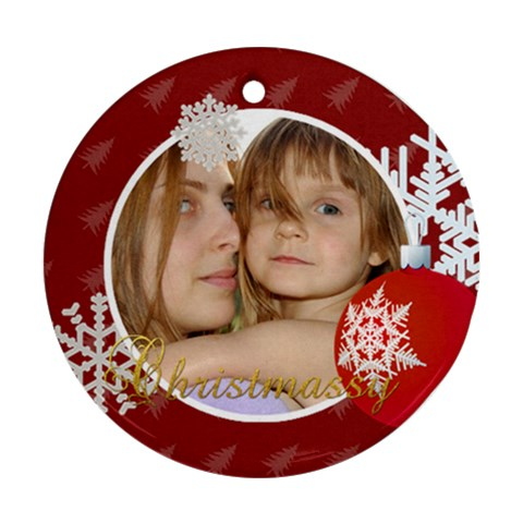 Christmas By Wood Johnson   Ornament (round)   K3fwrycqjcg6   Www Artscow Com Front