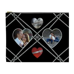 Hearts & Pearls Xl Cosmetic Bag By Lil    Cosmetic Bag (xl)   Pryyts1hei1d   Www Artscow Com Front