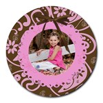 pink chocolate mouse pad - Round Mousepad