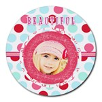 beatiful girl mouse pad - Round Mousepad