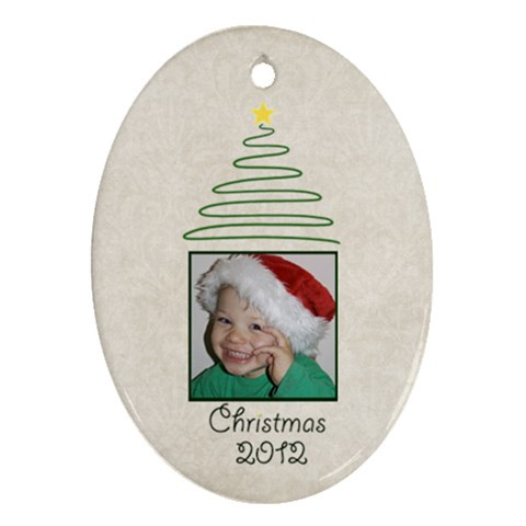Christmas Oval Ornament Cream Damask By Mim   Ornament (oval)   O02vml51j0hj   Www Artscow Com Front