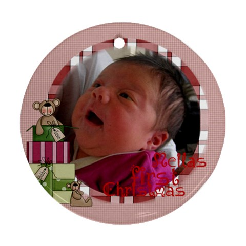 First Chrissie By Brigitte Winnard   Ornament (round)   Npjad8odwlis   Www Artscow Com Front